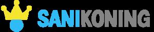 Sanikoning logo met tekst blauw grijs